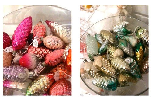 Shikasuki Vintage 1940s to 1960s Christmas Decorations Glass Pinecones from Russia and Ukraine